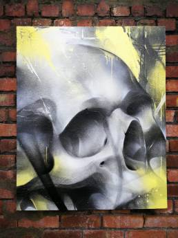 Clade-original-graffiti-art-canvas-painting-rmer-skull